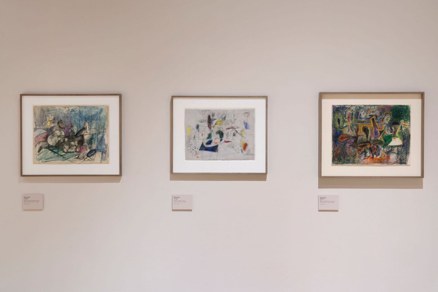 Installation photograph showing a three abstract drawings by Gorky from the 1940s