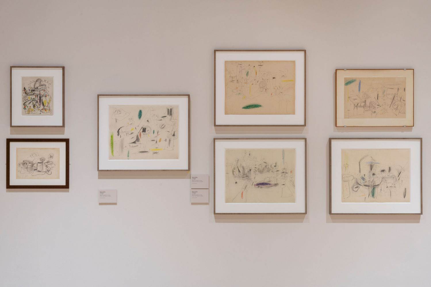 Installation photograph showing a seven abstract drawings by Gorky from the 1940s