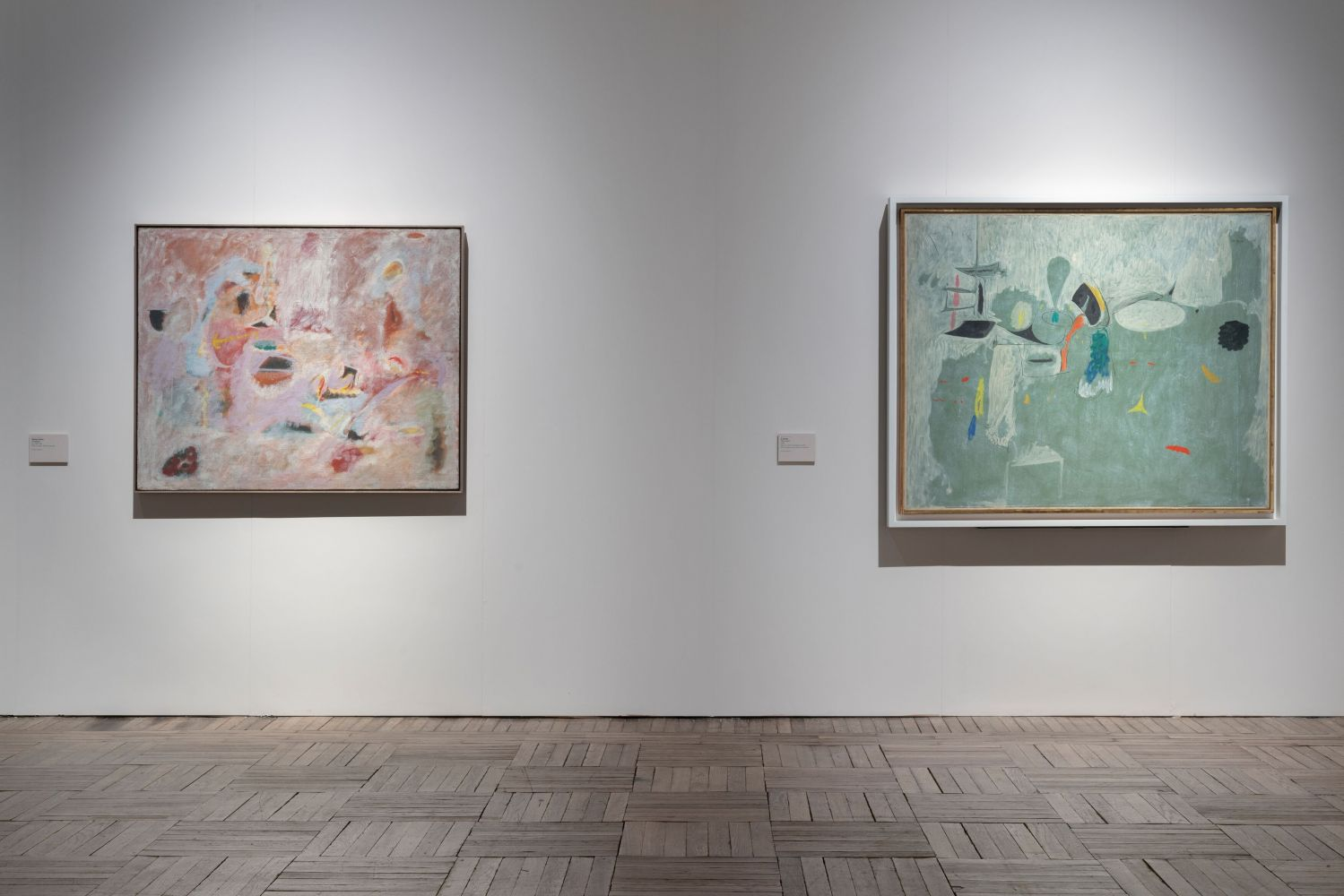 Installation photograph showing two works by Gorky: Untitled (pink painting) and The Limit