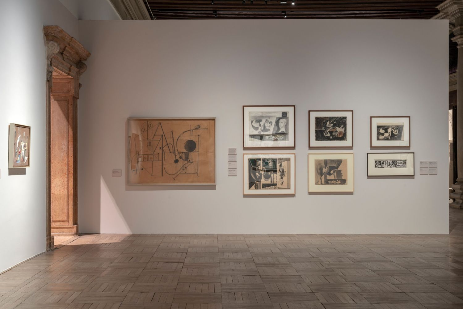 Installation photograph showing drawings by Gorky from the early 1930s