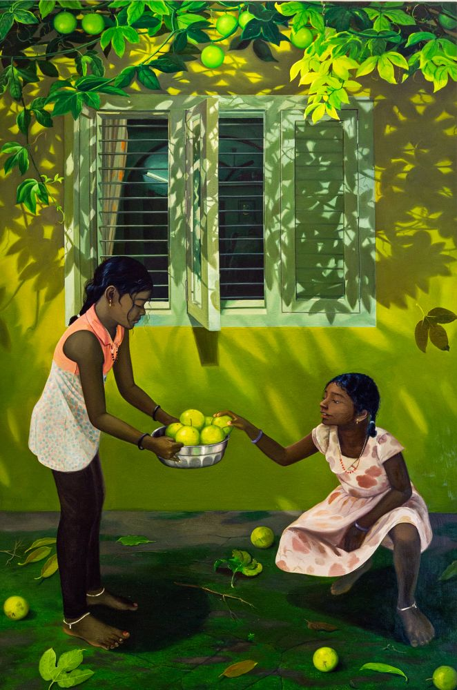 RATHEESH T. Morning Fruit, 2019  Oil on canvas  72 x 48 in / 182.8 x 121.9 cm   Collection: Kiran Nadar Museum of Art, New Delhi, India
