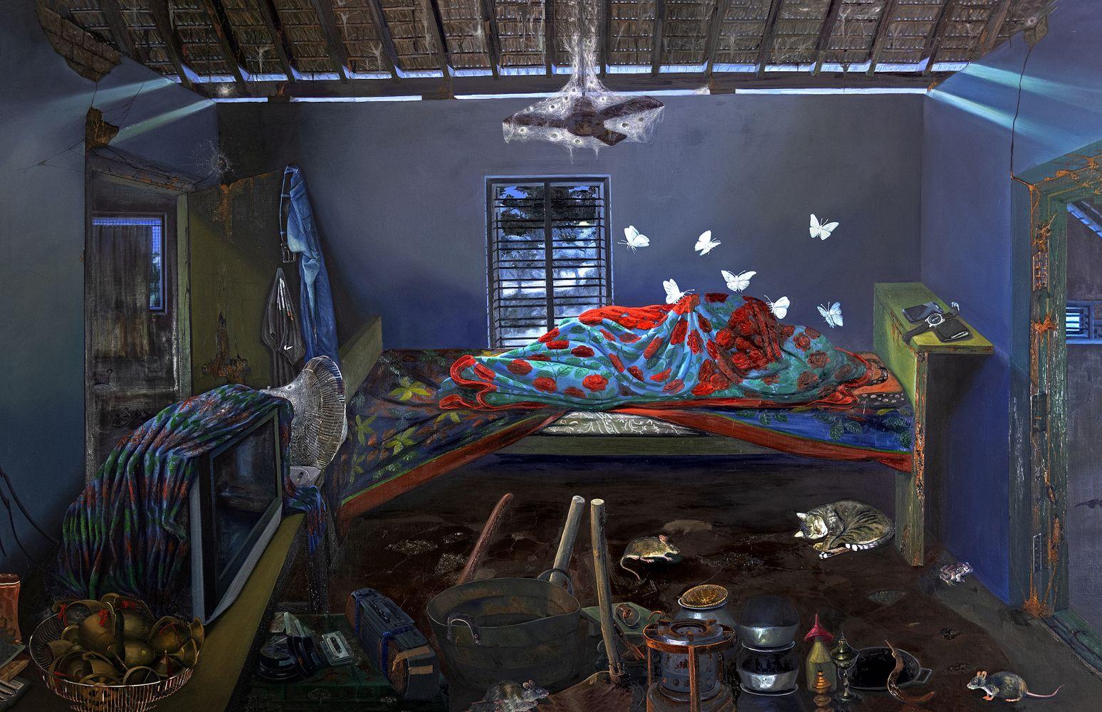 RATHEESH T. AmmaVeedu, 2019  Oil on canvas  78 x 120.5 in / 198 x 306 cm   Collection: Zuzeum Art Centre, Riga, Latvia