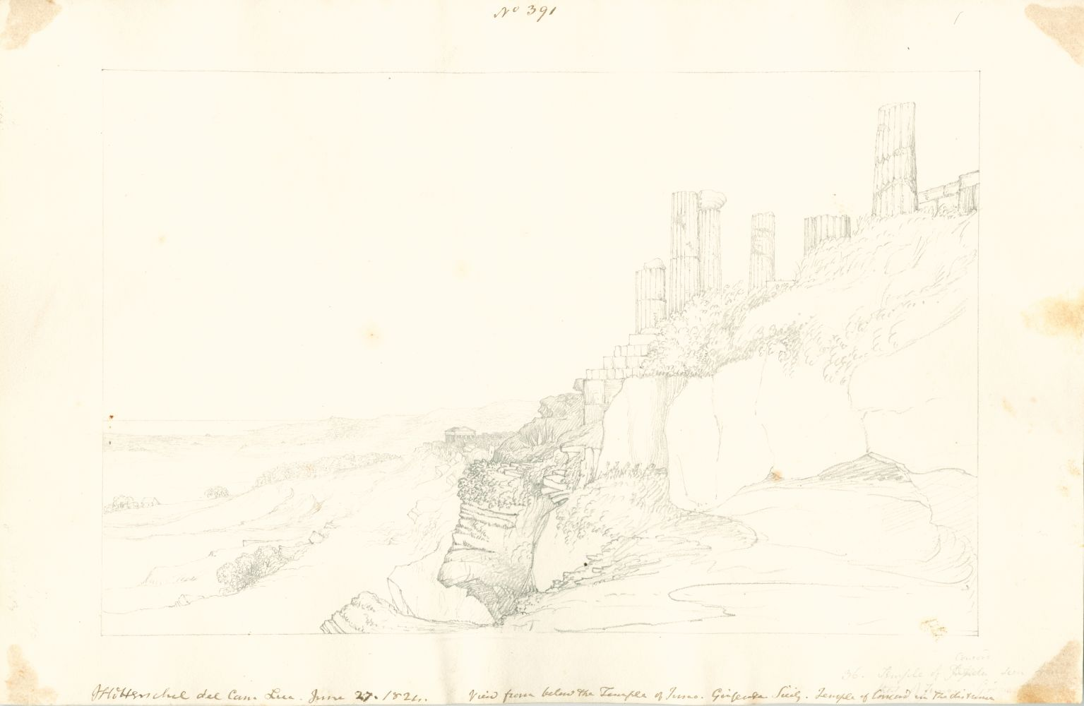 """Sir John Frederick William HERSCHEL (English, 1792-1872) """"No 391 View from below the Temple of Juno, Girgenti Sicily. Temple of Concord in the distance"""", 27 June 1824 Camera lucida drawing, pencil on paper 20.0 x 31.0 cm on 25.1 x 38.4 cm paper Numbered, signed, dated and titled """"No 391 / JFW Herschel del Cam Luc. June 27, 1824. / View from below the Temple of Juno. Girgenti Sicily. Temple of Concord in the distance"""" in ink in border, and """"Concord / 36. Temple of [crossed out] seen from / [illegible] of Juno Girgenti"""" in pencil."""