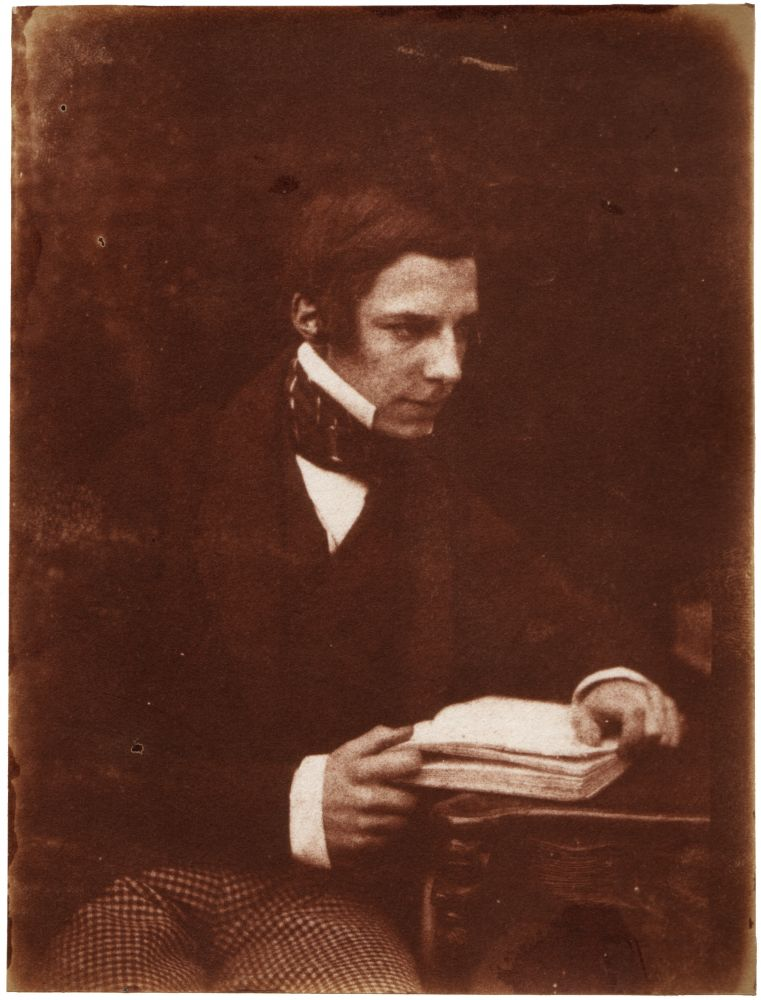 "David Octavius HILL & Robert ADAMSON (Scottish, 1802-1870 & 1821-1848) John Mackintosh ""The Earnest Student"", circa 1843-1847 Salt print from a calotype negative 16.5 x 12.6 cm mounted on 37.6 x 26.6 cm paper ""John Mackintosh (Geddes) The Earnest Student"" inscribed in pencil, with Royal Scottish Academy monogram, on mount"