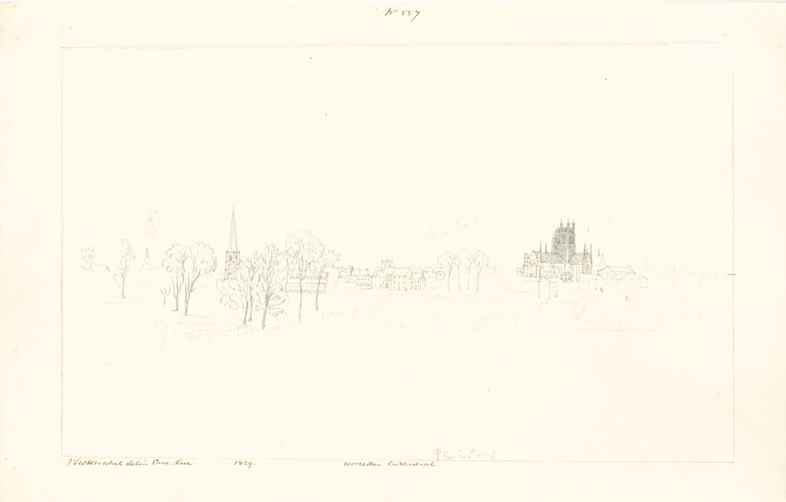 "Sir John Frederick William HERSCHEL (English, 1792-1872) ""No 557 Worcester Cathedral"", 1829 Camera lucida drawing, pencil on paper 20.2 x 32.2 cm on 24.4 x 38.5 cm paper Watermark ""J Whatman Turkey Mill"". Numbered, signed, dated and titled ""No 557 / JFW Herschel delin Cam. Luc. / 1829 / Worcester Cathedral"" in ink in border. Titled ""Worcester"" in pencil on verso."