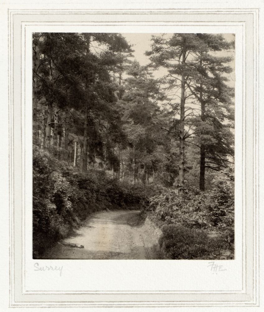 """Frederick H. EVANS (English, 1853-1943) """"Surrey"""", circa 1900 Platinum print 11.5 x 10.3 cm mounted on 32.9 x 25.1 cm paper, ruled ink and wash Initialed """"F.H.E."""" and titled in pencil on mount"""