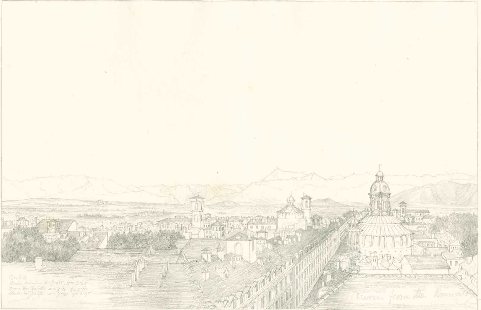 "Sir John Frederick William HERSCHEL (English, 1792-1872) ""No 351 Turin with the chain of the Alps. From the roof of the Observatory"", 1824 Camera lucida drawing, pencil on paper"