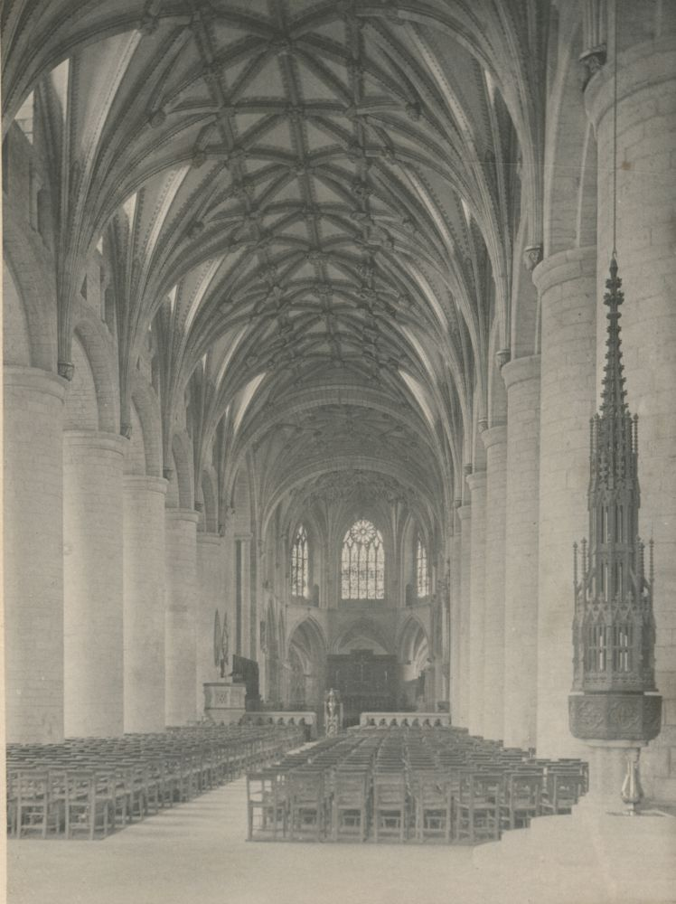Frederick H. EVANS (English, 1853-1943) Tewkesbury Abbey: Nave to East, 1890 Platinum print 14.9 x 11.2 cm Signed, titled and dated in pencil on mount