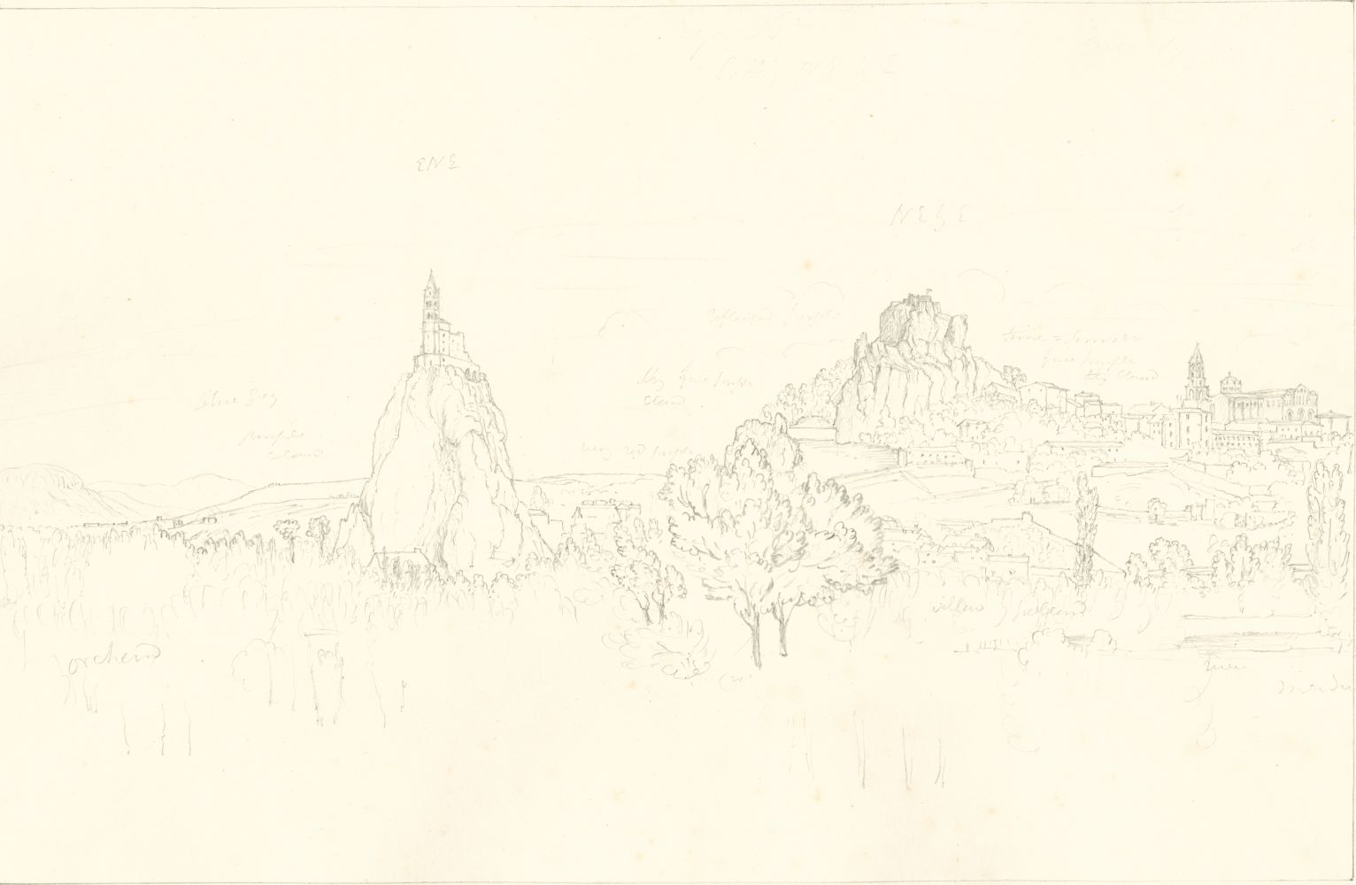 "Sir John Frederick William HERSCHEL (English, 1792-1872) ""No 495 Le Puy. From across the bridge. The Church of St Michel, The Rocher du Corneille & the Cathedral"", 19 October 1850 Camera lucida drawing, pencil on paper 21.6 x 33.3 cm on 25.2 x 38.5 cm paper Numbered, signed, dated and titled ""No 495 / JFW Herschel del. Cam. Luc. Oct. 19, 1850 / Le Puy. From across the bridge. The Church of St Michel bearing ENE, The Rocher du Corneille NE by E. / (by compass) & the Cathedral"" in ink in border"