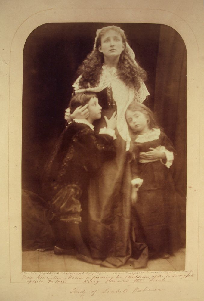 "Julia Margaret CAMERON (English, born in India, 1815-1879) ""Queen Henrietta informing her children of the coming fate of their Father King Charles the First. Study of Isabel Bateman"", May 1874 Albumen print from wet collodion negative 35.3 x 22.7 cm, top corners rounded, mounted on 58.5 x 46.5 cm card, ruled in gilt Signed, titled, dated and inscribed ""From life, Registered Photograph Copyright, Freshwater"" in ink with ""Colnaghi"" blindstamp on mount"