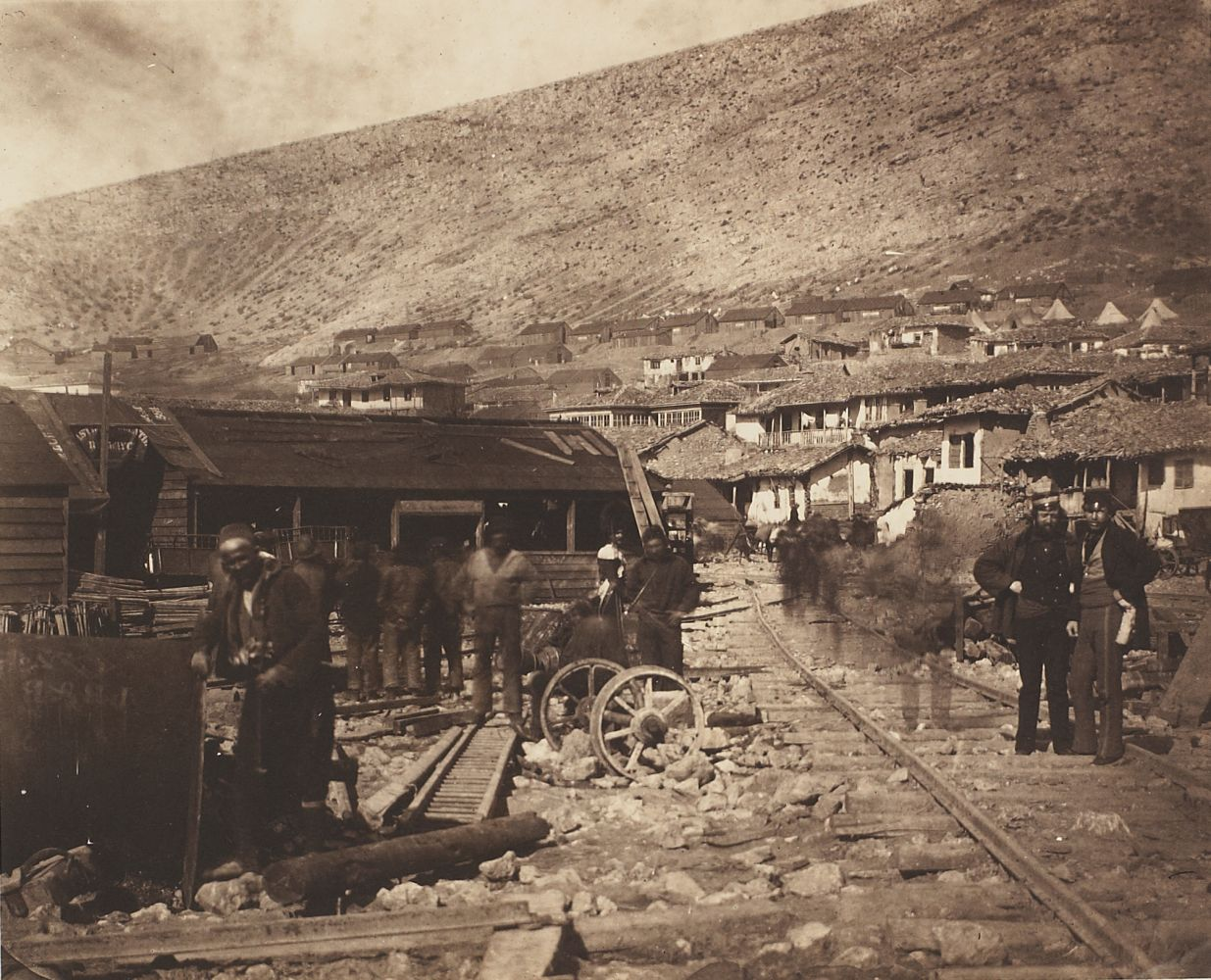 "Roger Fenton (English, 1819-1869) ""The Railway Yard, Balaklava"" in the Crimea, 1855 Salt print from a collodion negative"