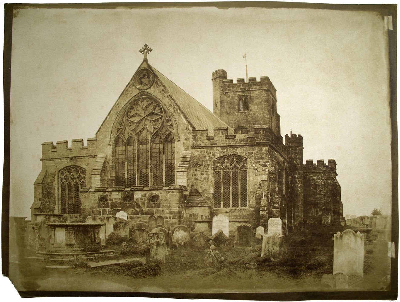 "Benjamin Brecknell TURNER (English, 1815-1894) East End ""Hawkhurst Church"" Kent*, 1852-1854 Salt print from a waxed calotype negative 29.9 x 39.8 cm on 31.4 x 41.6 cm paper Titled ""Hawkhurst Church"" in pencil on verso"