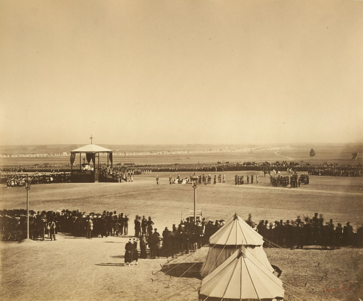 "Gustave LE GRAY (French, 1820-1884) La messe du 4 octobre, Camp de Chalons, 1857 Albumen print from a collodion on glass negative 31.7 x 38.3 cm mounted on 49.6 x 64.8 cm album sheet Photographer's red signature stamp. Inscribed ""5"" in pencil on mount and on mount verso."