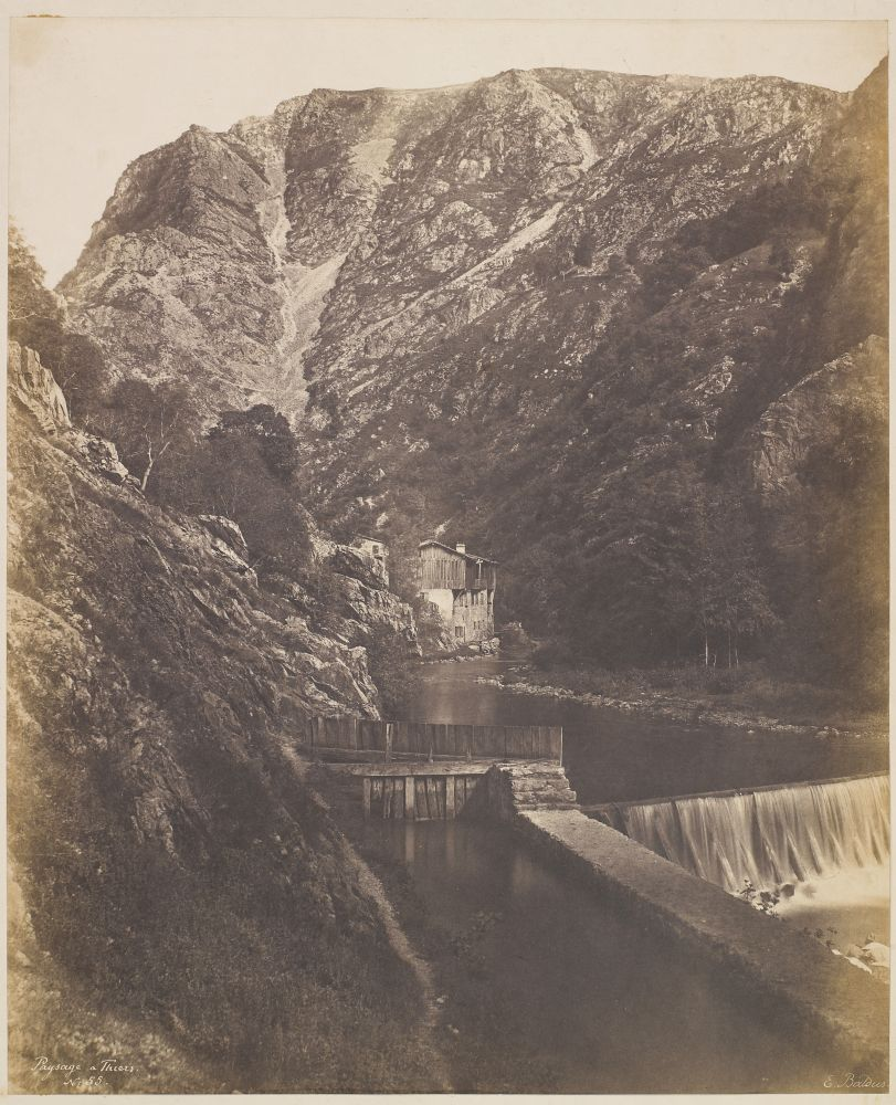 """Édouard-Denis BALDUS (French, 1813-1889) """"Paysage a Thiers"""", 1854 Salt print from a paper negative 40.3 x 33.0 cm, ruled in ink, mounted on 54.2 x 38.2 cm paper Signed """"E. Baldus."""", titled """"Paysage a Thiers."""" and numbered """"No 55."""" in the negative. Titled """"Paysage a Thiers"""" in ink on mount."""