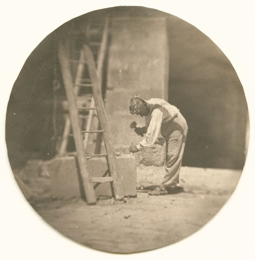 "Charles NÈGRE (French, 1820-1880) Le tailleur de pierre, summer 1853 Salt print from a collodion on glass negative 9.9 cm tondo Stamped ""André Jammes"" and inscribed ""No 32 / FH 23 / A37"" by André Jammes in pencil on verso"