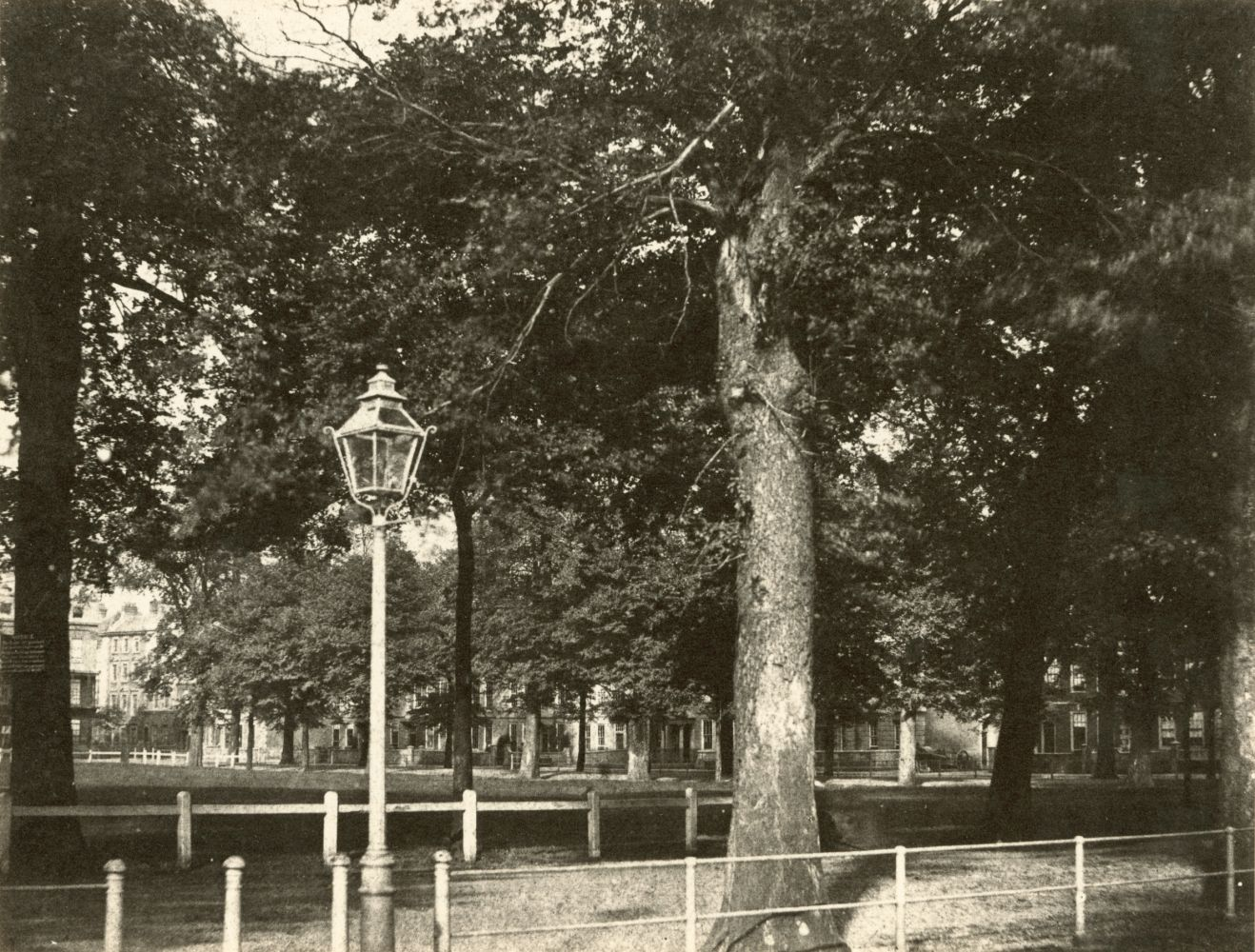 """Hugh OWEN (English, 1808-1897) Queen Square, Bristol Albumen print, 1860s-1870s, from a paper negative, before 1855 15.4 x 20.3 cm mounted on 26.0 x 28.3 cm album sheet Numbered """"56"""" in pencil on mount"""