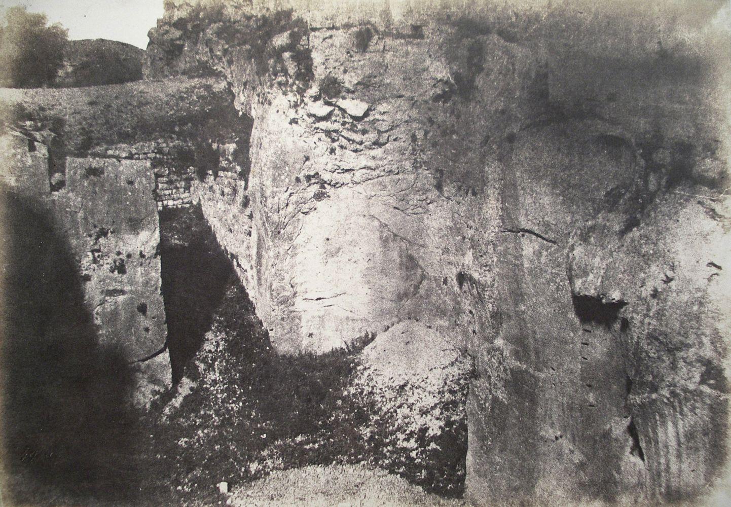 """Auguste SALZMANN (French, 1824-1872) """"Carriere a la Porte de Damas, Jerusalem"""", 1854 / 1856 Blanquart-Evrard process salt print from a paper negative 23.4 x 33.7 cm mounted on 41.1 x 58.5 cm paper Title and """"Aug. Salzmann"""" with """"Gide et J. Baudry, editeurs. / Imp. Photogr. de Blanquart-Evrard, a Lille"""" lithographed on mount"""