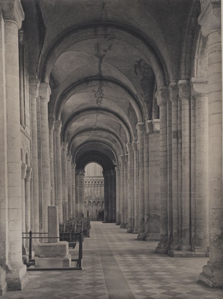 """Frederick H. EVANS (English, 1853-1943) """"Ely Cathedral: Sth Nave Aisle to West"""", probably 1891 Platinum print 23.9 x 17.8 cm mounted on paper two times. First mount 30.3 x 22.9 cm, ruled in ink and wash. Second mount 55.6 x 37.4 cm. Signed """"Frederick H. Evans"""" and titled in pencil with the photographer's blindstamp on first mount"""