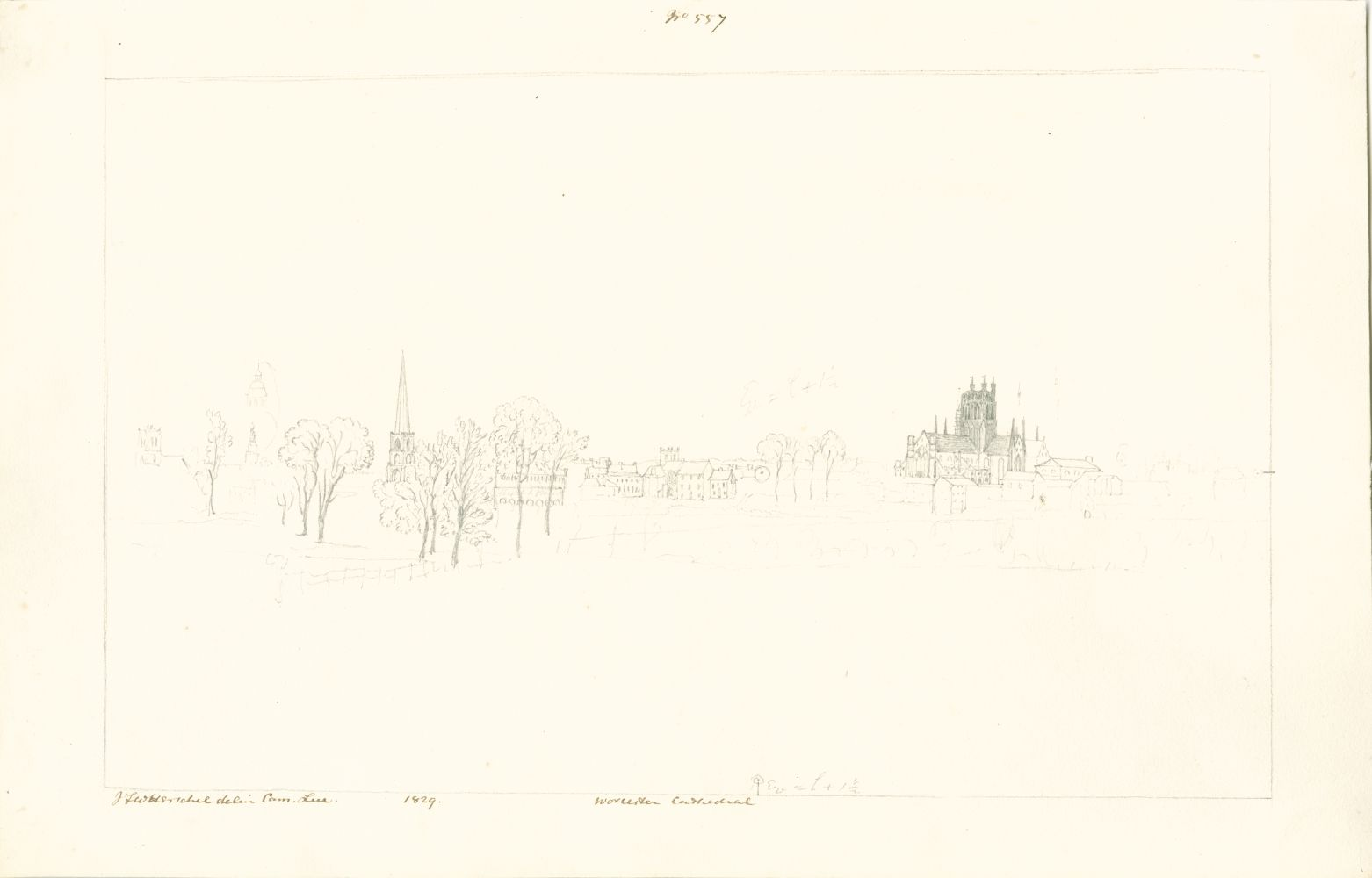 """Sir John Frederick William HERSCHEL (English, 1792-1872) """"No 557 Worcester Cathedral"""", 1829 Camera lucida drawing, pencil on paper 20.2 x 32.2 cm on 24.4 x 38.5 cm paper Watermark """"J Whatman Turkey Mill"""". Numbered, signed, dated and titled """"No 557 / JFW Herschel delin Cam. Luc. / 1829 / Worcester Cathedral"""" in ink in border. Titled """"Worcester"""" in pencil on verso."""