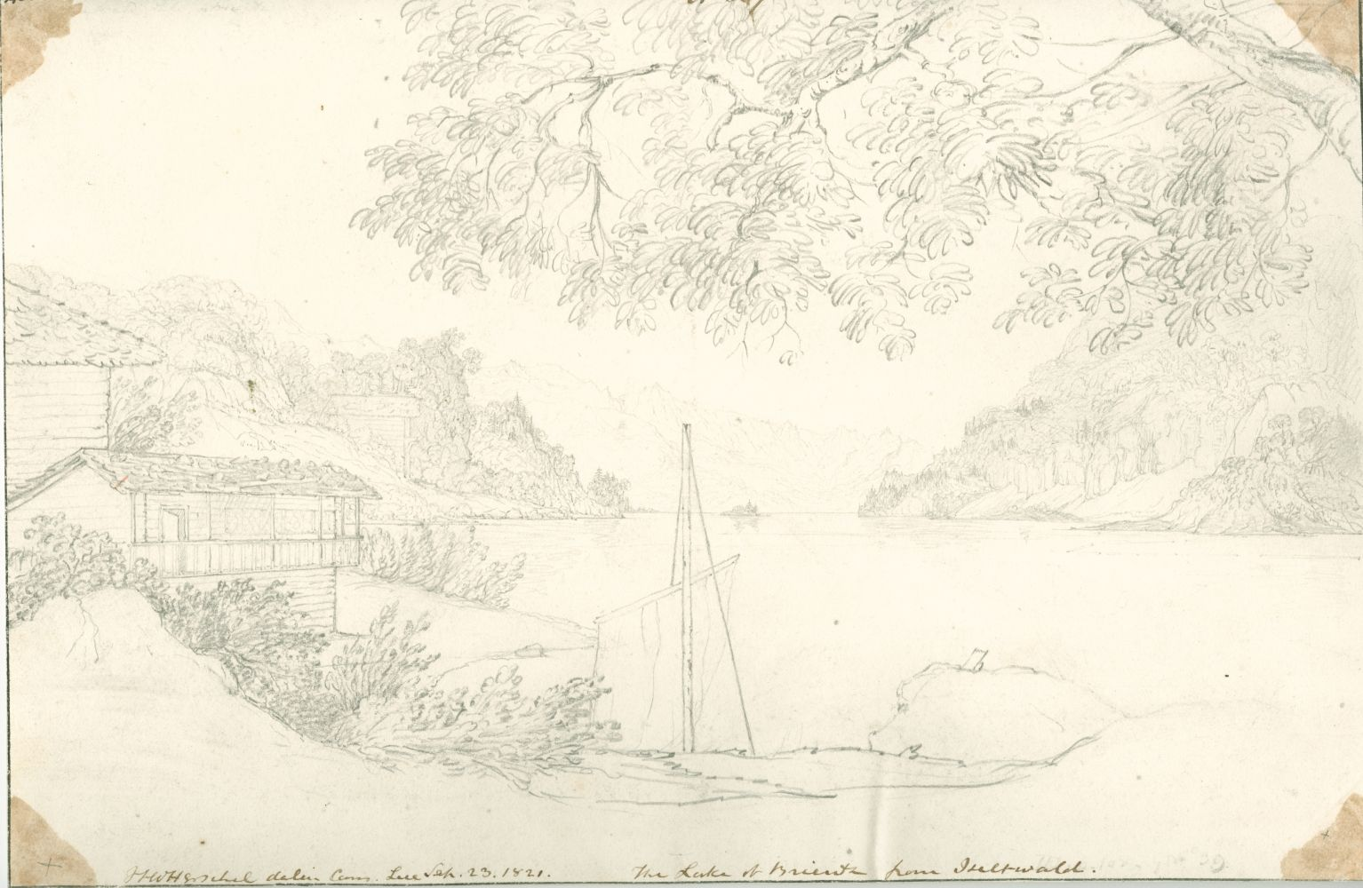 """Sir John Frederick William HERSCHEL (English, 1792-1872) """"No 507 The Lake of Brienz from Iseltwald"""", 23 September 1821 Camera lucida drawing, pencil on paper 20.3 x 30.6 cm Numbered, signed, dated and titled """"No 507 / JFW Herschel delin. Cam. Luc. / Sep. 23, 1821. / The Lake of Brienz from Iseltwald."""" in ink. Inscribed """"Iseltwald"""" two times in pencil on verso"""
