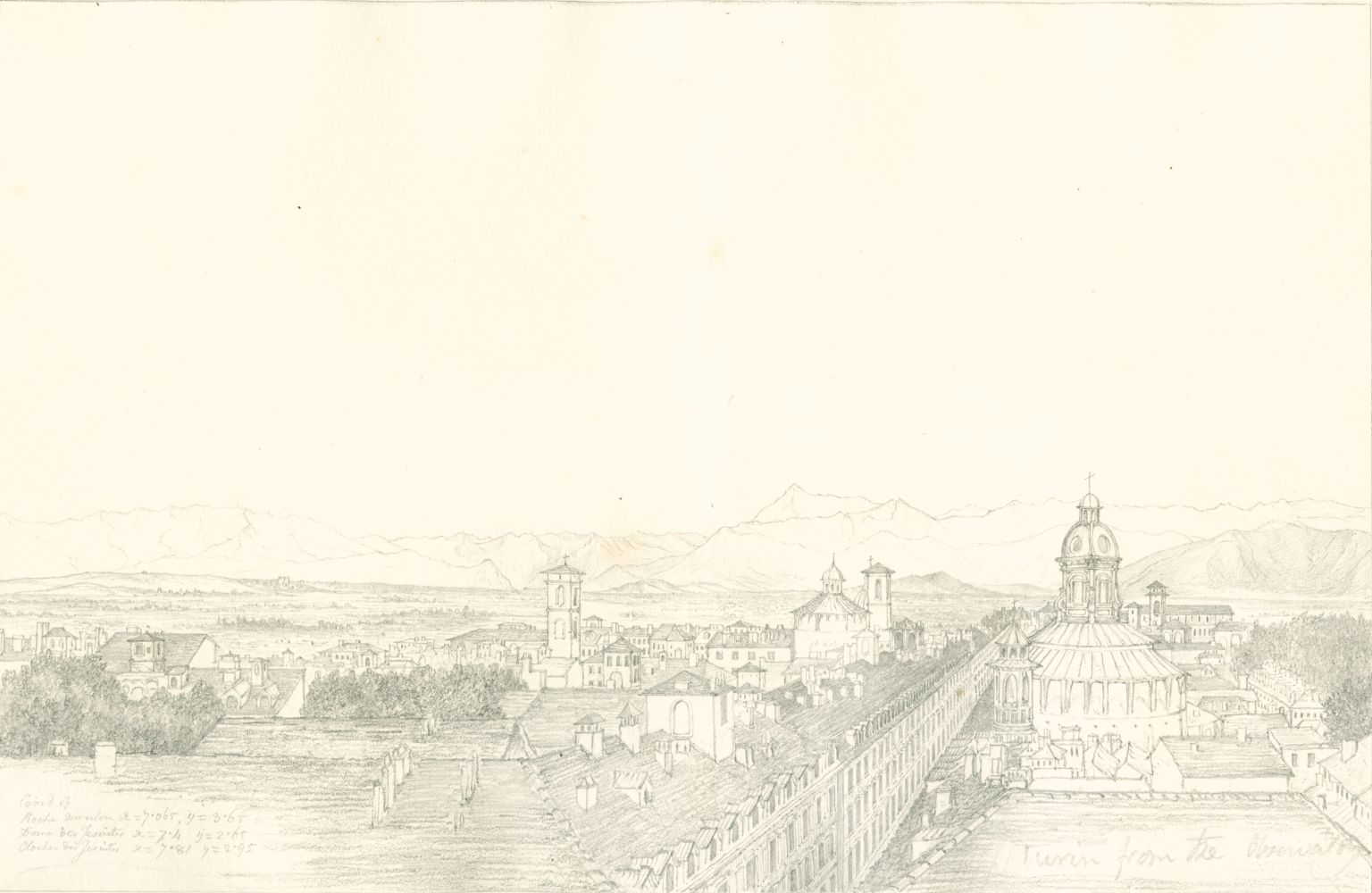 """Sir John Frederick William HERSCHEL (English, 1792-1872) """"No 351 Turin with the chain of the Alps. From the roof of the Observatory"""", 1824 Camera lucida drawing, pencil on paper 20.2 x 31.0 cm on 25.2 x 38.6 cm paper Numbered, signed, dated and titled """"No 351 / JFW Herchel del. Cam. Luc. / 1824 / Turin with the chain of the Alps. From the roof of the Observatory."""" in ink in border, and """"Coord of / Roche Moulon x = 7.065, y = 3.65 / Dome des Jesuites x = 7.4, y = 2.65 / Clocher des Jesuites x = 7.81, y = 2.95 / Turin from the Observatory"""" in pencil. Inscribed """"Turin from Observatory"""" in pencil on verso"""