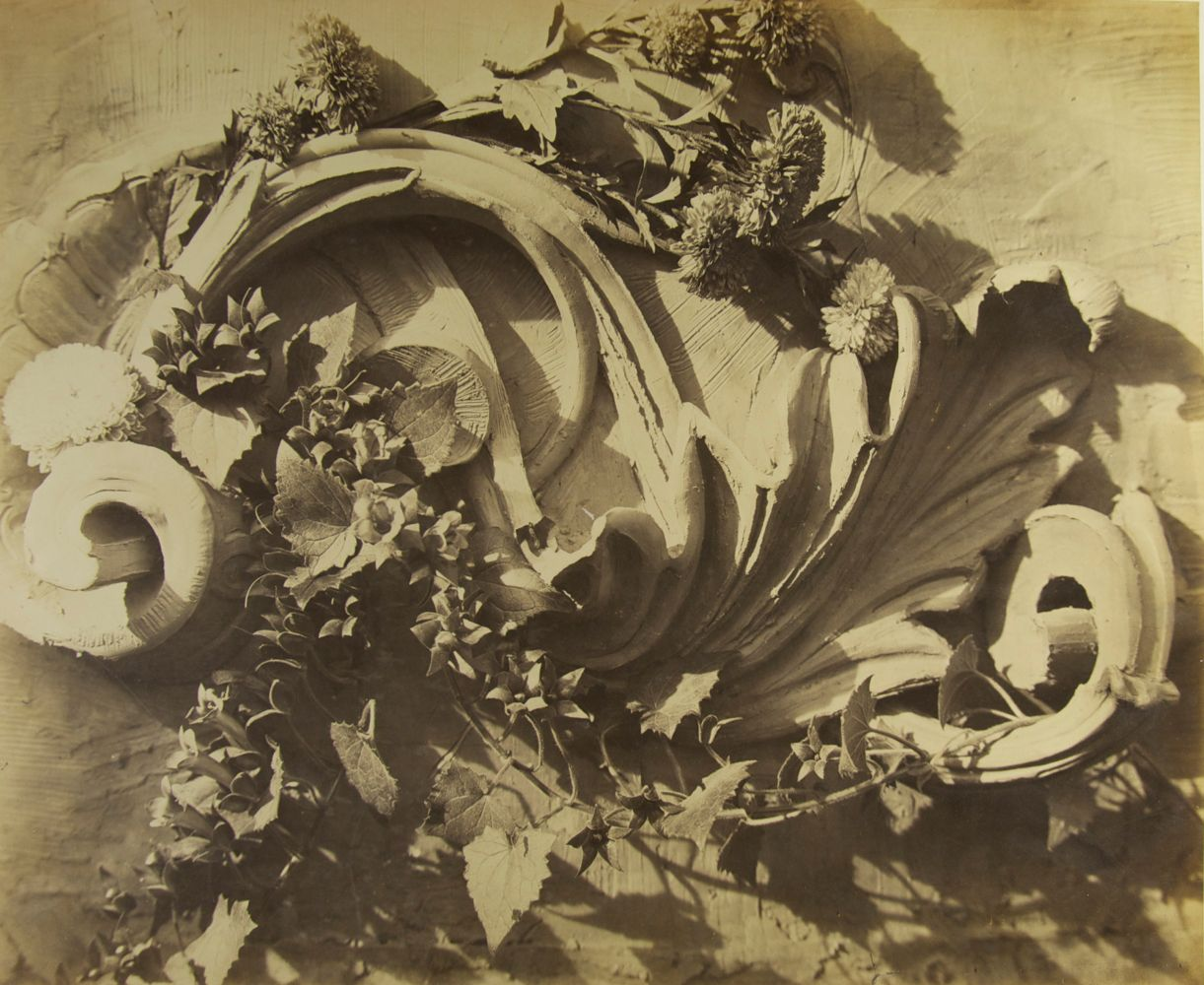 """Charles Hippolyte AUBRY (French, 1811-1877) Decorative motifs, circa 1865 Albumen print from a collodion negative 37.4 x 46.2 cm mounted on 47.0 x 55.0 cm paper  Blue """"ch. aubry"""" signature stamp, blue oval """"PHOTOGRAPHIE, 8, RUE DE LA REINE BLANCHE"""" with logo stamp and circular blindstamp """"MEDAILLE D'OR / À CH. AUBRY / 1864"""""""