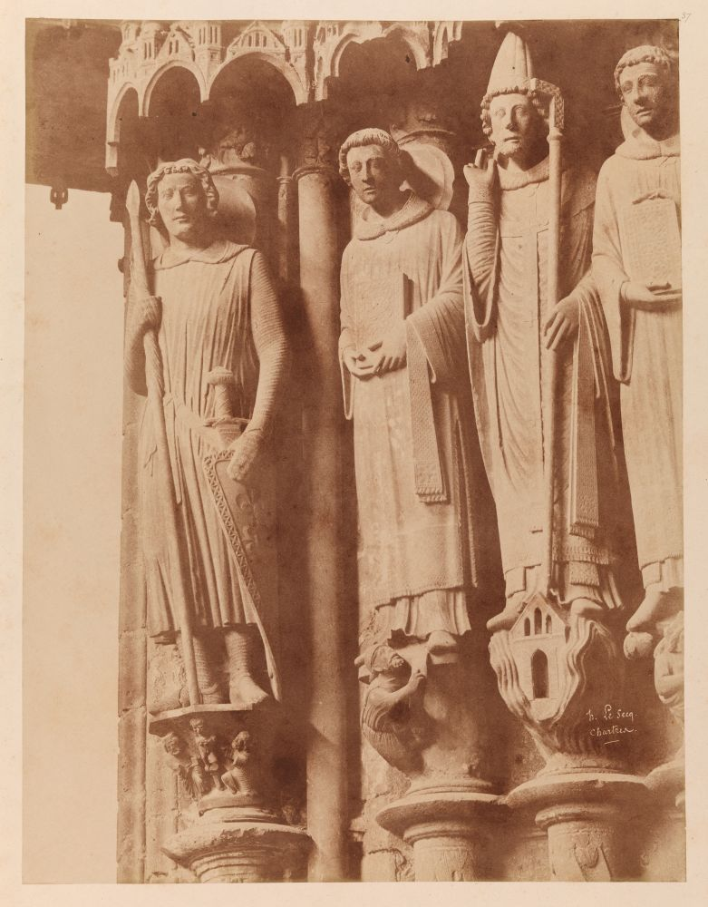 """Henri LE SECQ (French, 1818-1882) South porch, left portal, left jamb with saints, Chartres Cathedral, 1852 Coated salt print from a paper negative 48.6 x 37.2 cm mounted on 59.8 x 46.1 cm card Signed and titled """"h. Le Secq. / Chartres."""" in the negative"""