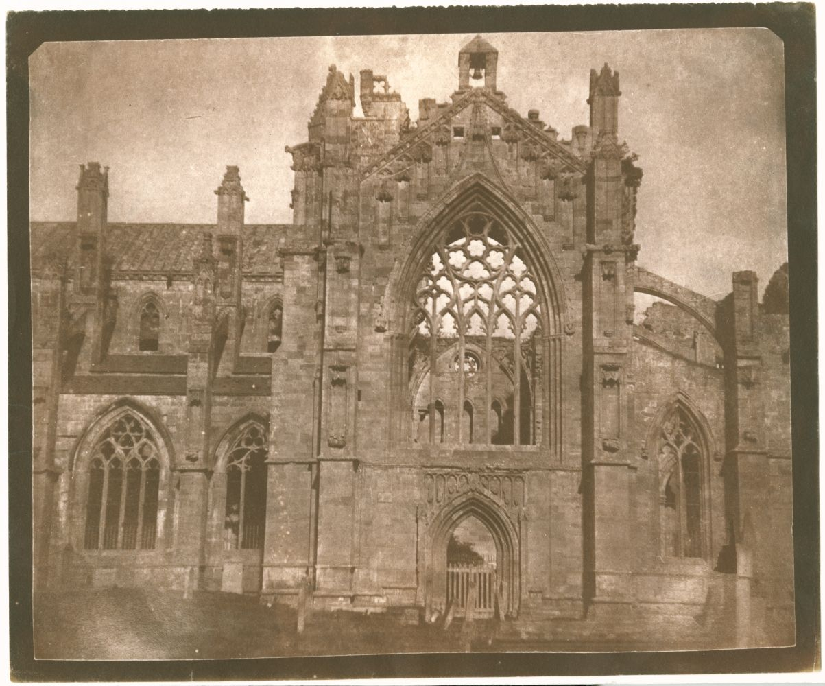 "William Henry Fox TALBOT (English, 1800-1877) Melrose Abbey, 1844 Salt print from a calotype negative 17.3 x 21.2 cm on 18.7 x 22.6 cm paper ""LA32"" in ink on verso"