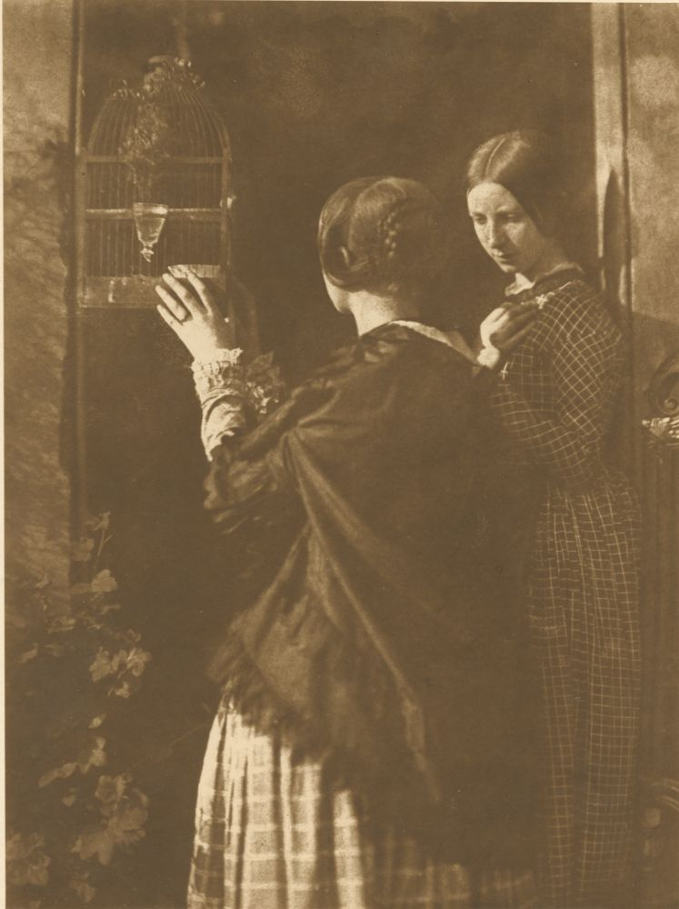David Octavius HILL & Robert ADAMSON (Scottish, 1802-1870 & 1821-1848) The Bird Cage (the Misses Watson), 1916 Carbon print by Jessie Bertram derived from the original calotype negative by Hill & Adamson, 1843-1847 20.2 x 15.0 cm mounted on 38.3 x 26.5 cm paper, ruled in gilt