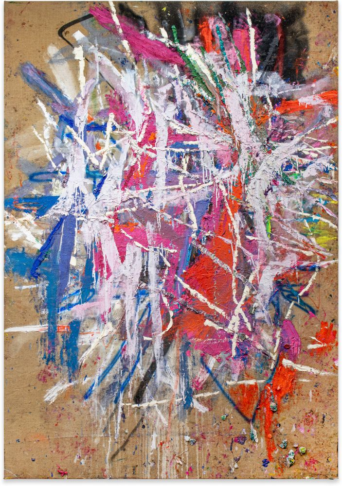 Spencer Lewis, Untitled; 2020; Acrylic, oil, enamel, spray paint, and ink on jute; 97h x 68w in
