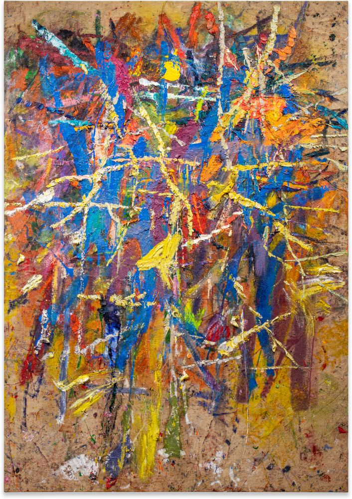 Spencer Lewis, Untitled; 2020; Acrylic, oil, enamel, spray paint, and ink on jute; 96h x 67w in