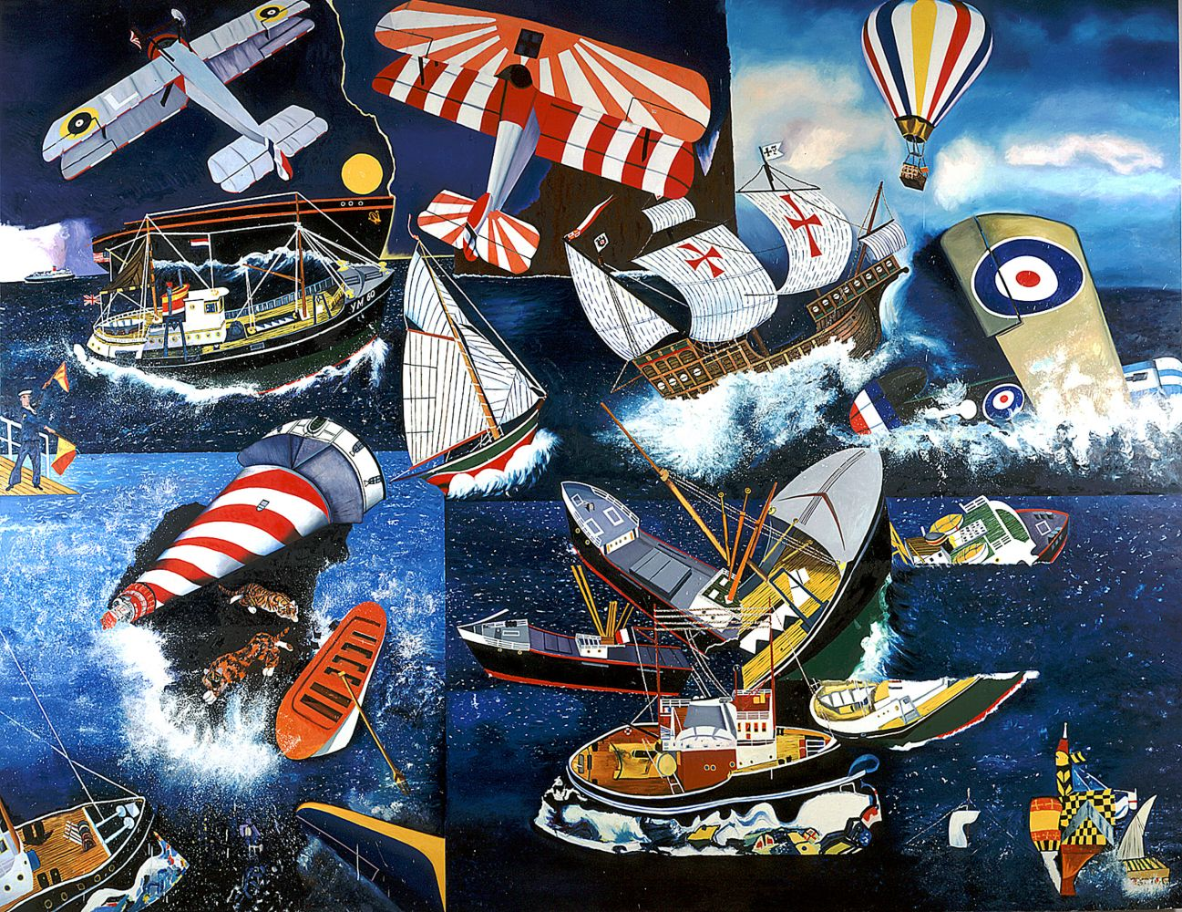 painting of collaged imagery of the sea, including ships, boats, biplanes and a lighthouse