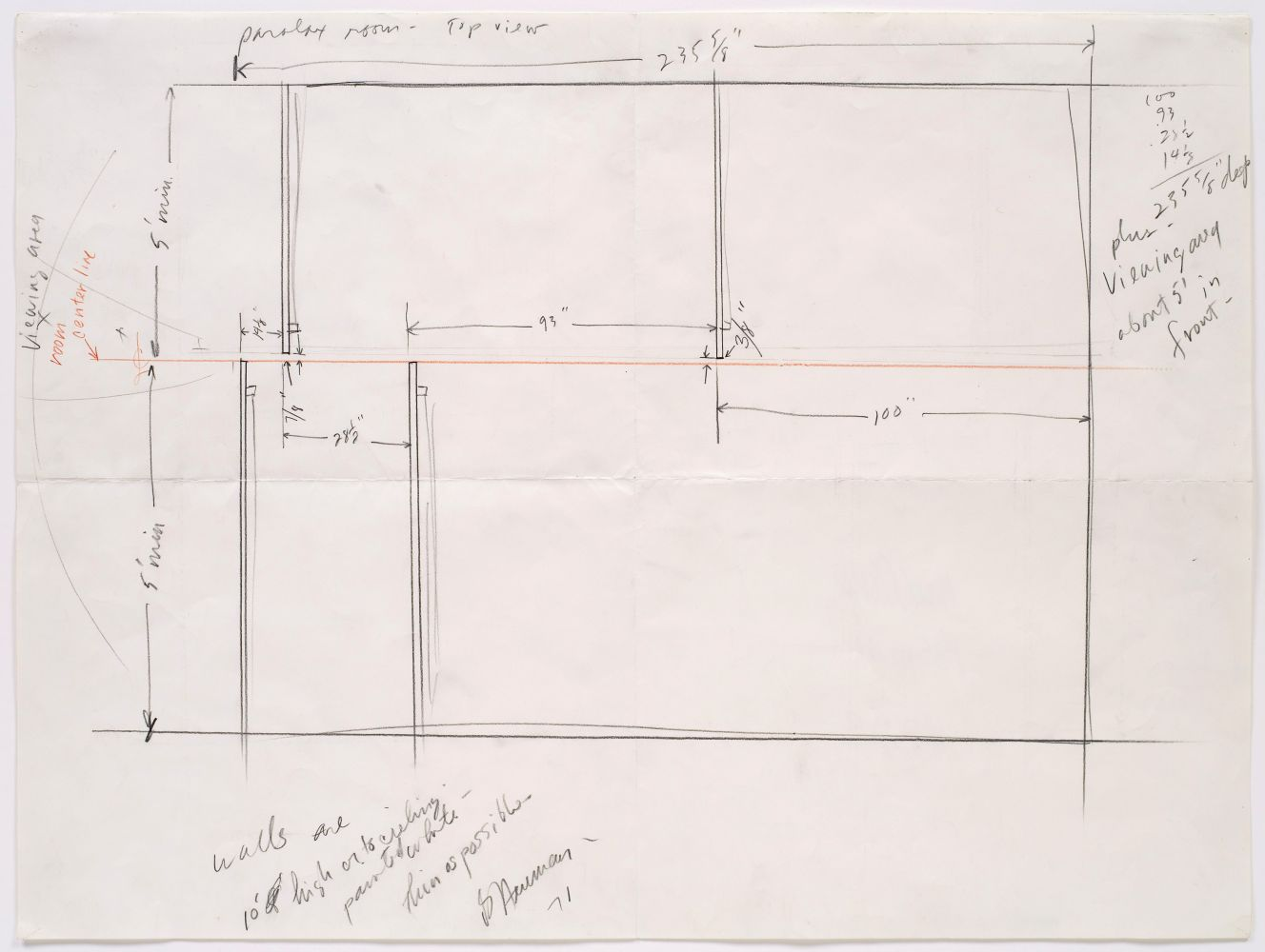 graphite and colored pencil drawing of an installation plan with handwritten notes by the artist