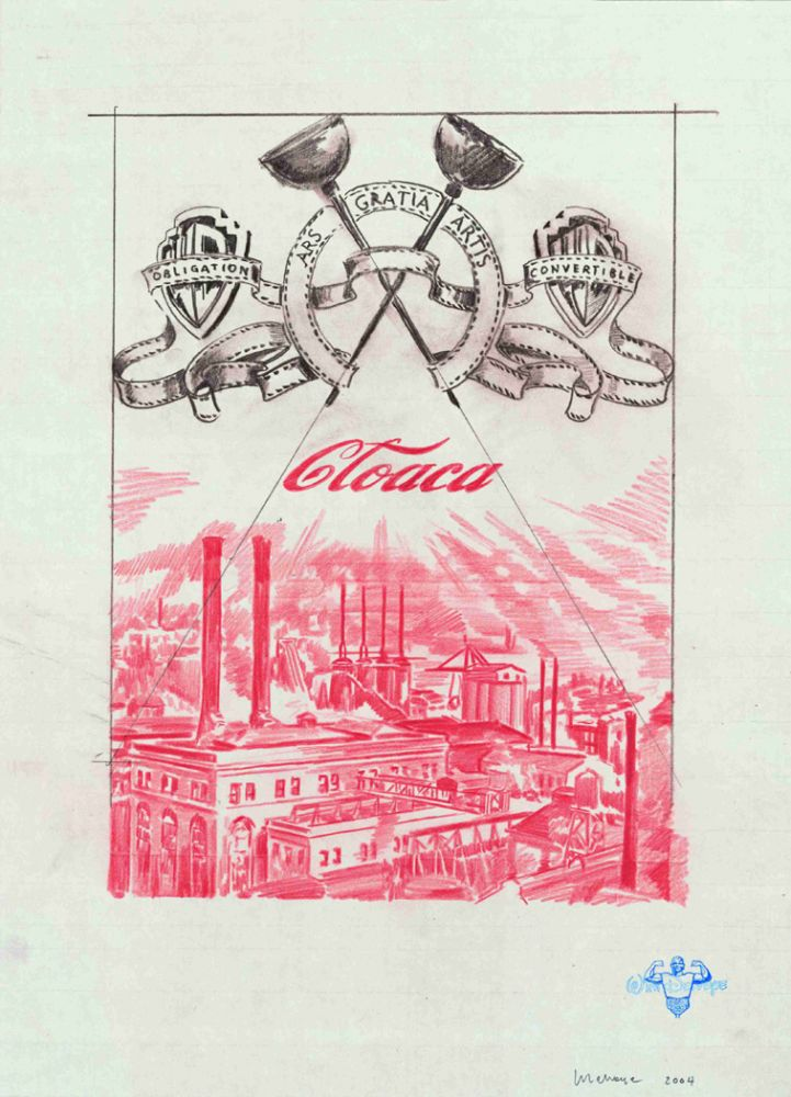 pink drawing of an industrial complex with Wim Delvoye logos overhead
