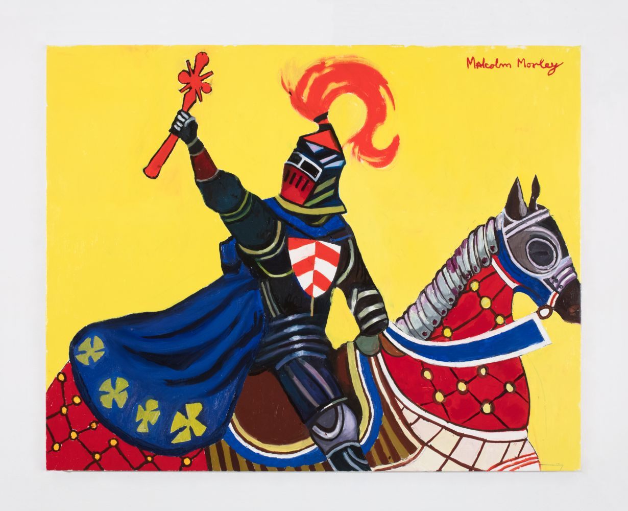 close-up painting of a knight on horseback with his arm raised against a bright yellow background