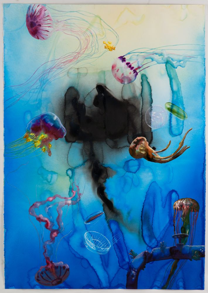 colorful watercolor of various species of jellyfish swimming around a pipe leaking black liquid into the sea