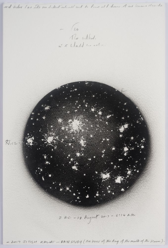 black circle with white splotches and handwritten notations