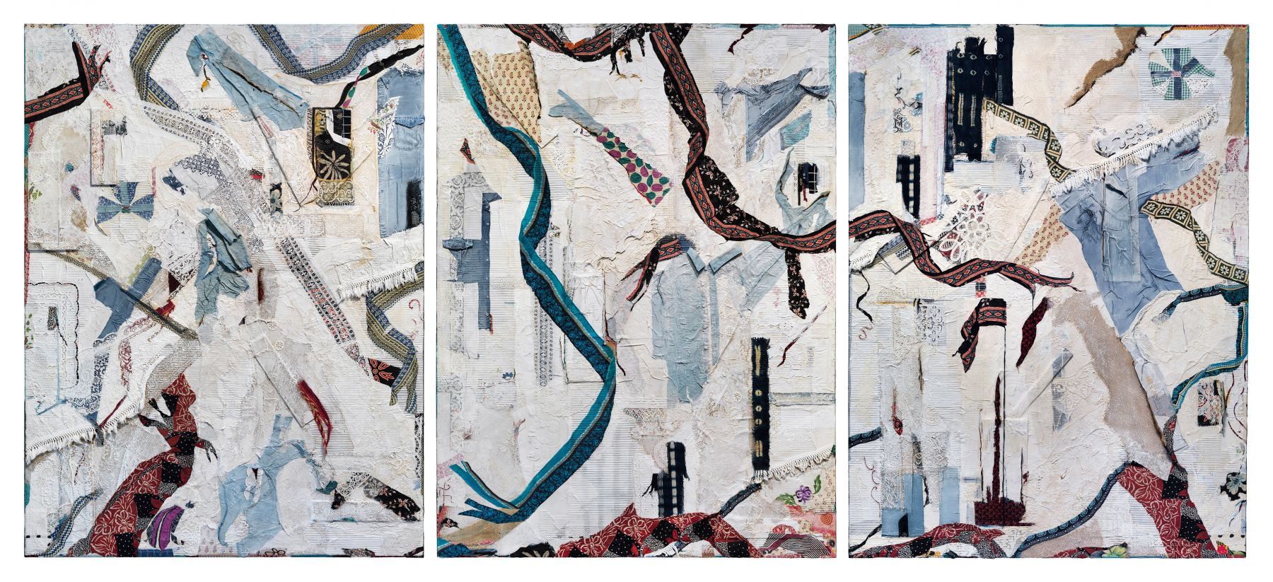 large-scale abstract triptych painting made from collaged textiles