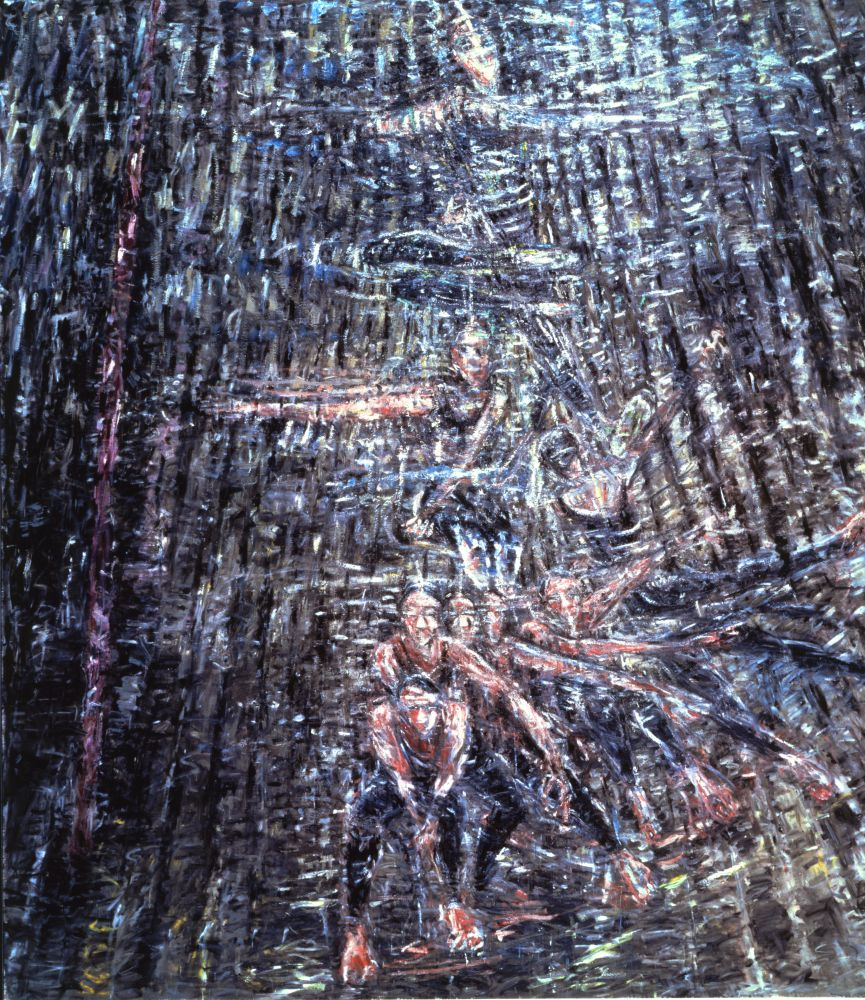 large-scale painting of a refracted figure or dancer in motion