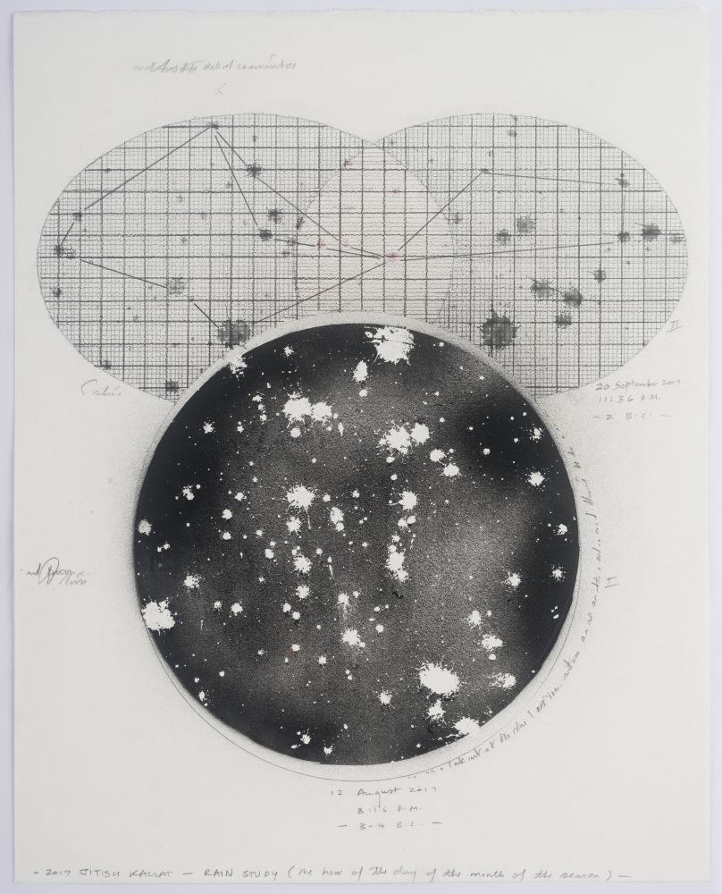 drawing of a black circle with white splotches with two intersecting oval graphs above it