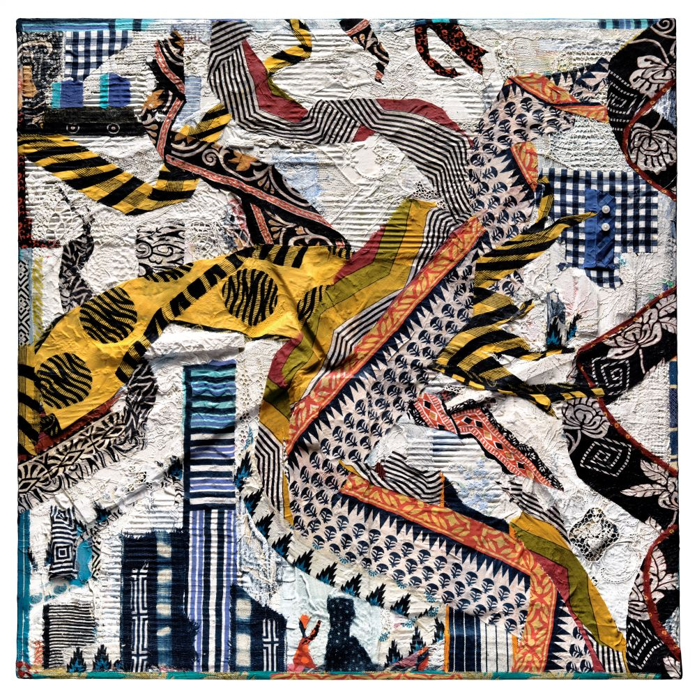 collage of colorful strips of textiles on canvas