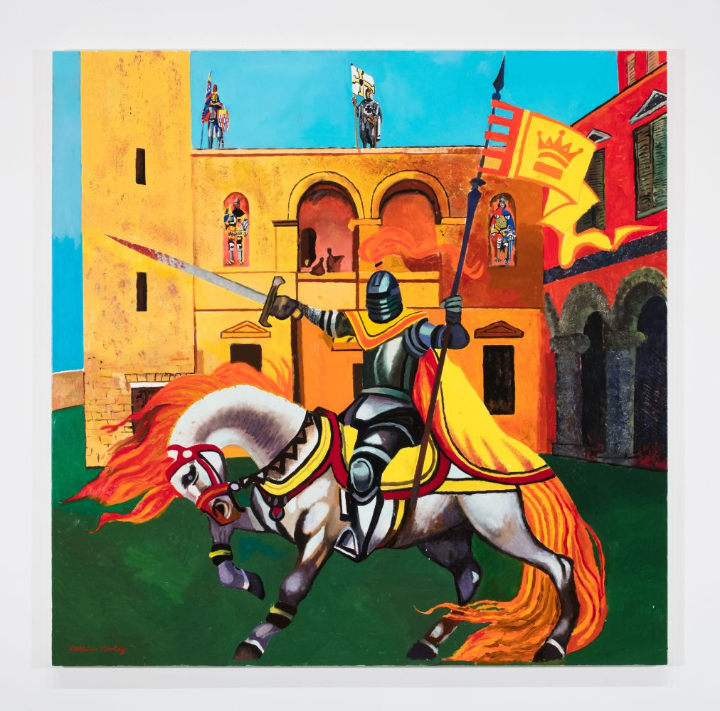 colorful painting of a knight on horseback in front of a castle