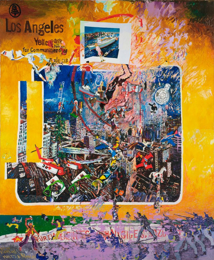 painting of the Los Angeles Yellow pages distorted with superimposed imagery of ships, planes and figures