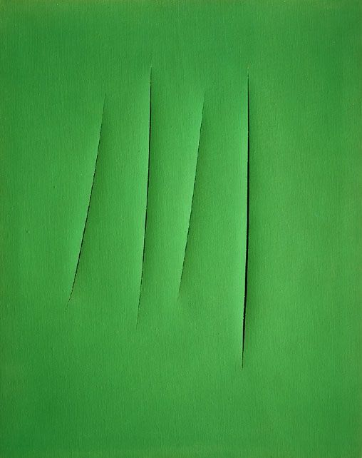 kelly green canvas with four vertical slashes in the center