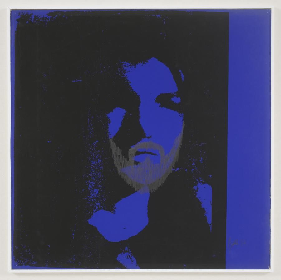 black silkscreen of Jackie Kennedy on a bright blue background with a beard drawn on her face