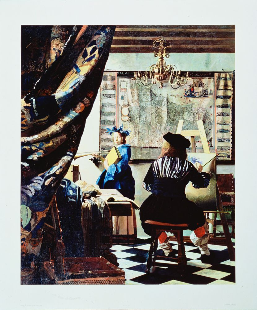 painting of the artist Vermeer in his studio as he paints a female model