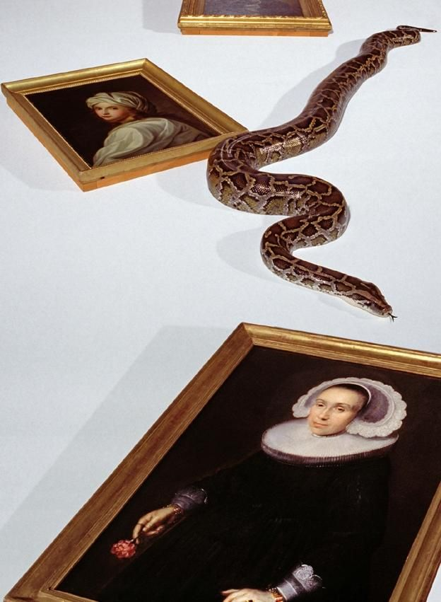 a snake slithers between several portrait paintings in gilt frames