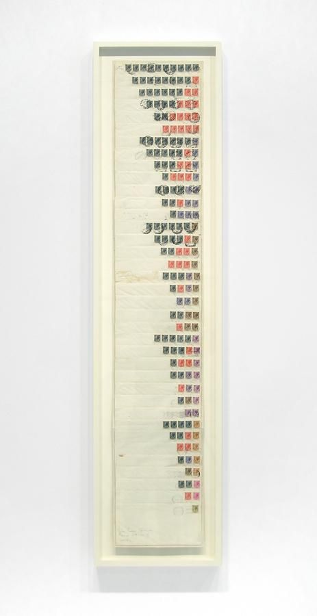 vertical composition of layers of envelopes and stamps
