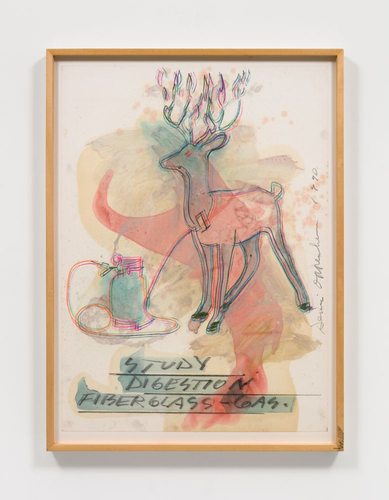 Dennis Oppenheim work sketching deer overlaid with abstract strokes of blue and red hues.