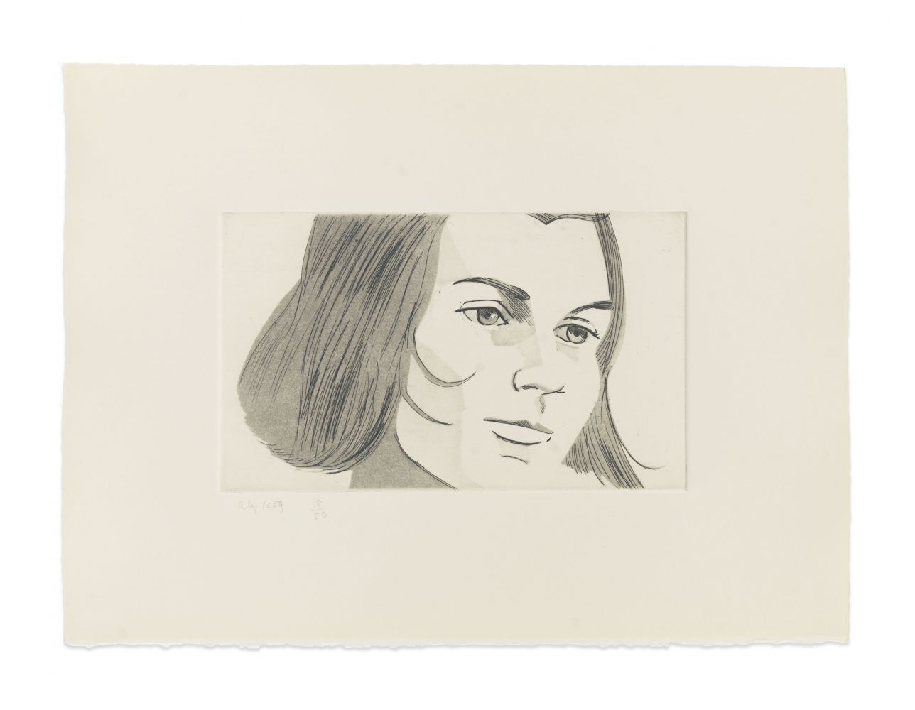 Aquatint by Alex Katz of a portrait a woman at 3/4 view with chin length hair and her head slightly tilted